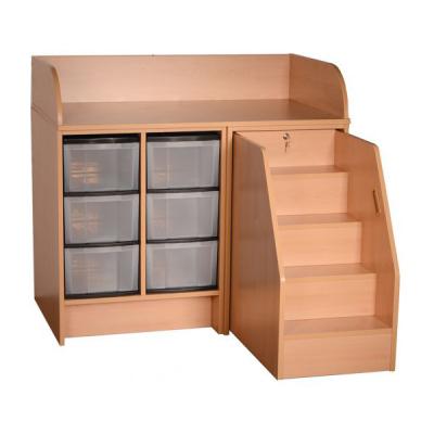 wickelkommode mit treppe und 6 hohen kunststoffsch ben my little. Black Bedroom Furniture Sets. Home Design Ideas