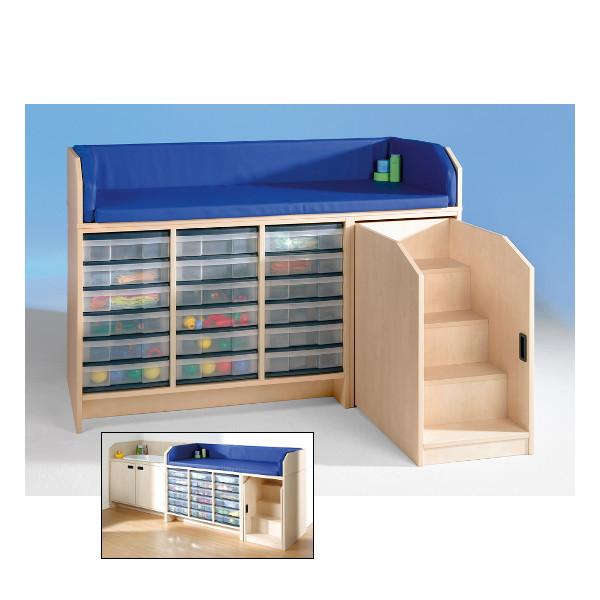 wickelkommode mit treppe und 18 kunststoffsch ben inkl auflage my little. Black Bedroom Furniture Sets. Home Design Ideas