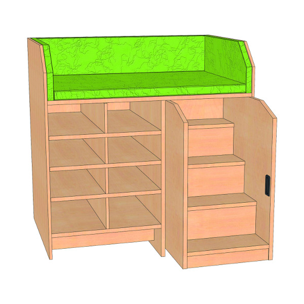 wickelkommode mit treppe und offenem regal inkl. Black Bedroom Furniture Sets. Home Design Ideas