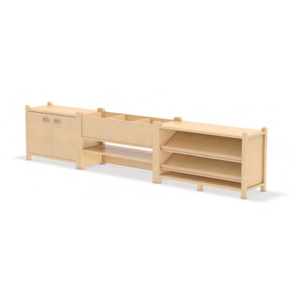 Regalsystem, Raumteiler Bücherwurm für Kindergarten, SFB